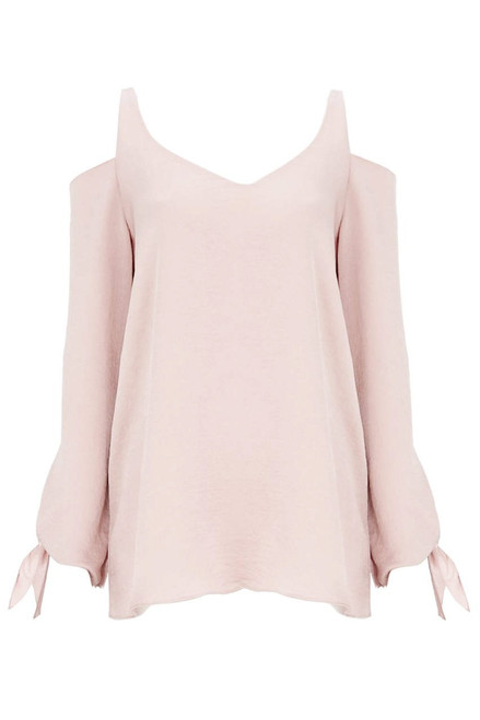 Blush Satin Cold Shoulder Top