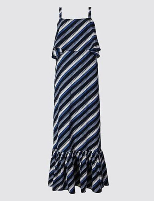Blue Stripe Cold Shoulder Maxi Dress