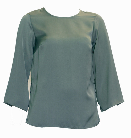 Grey Side Button Top