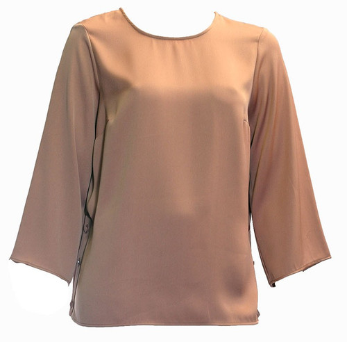 Brown Side Button Top