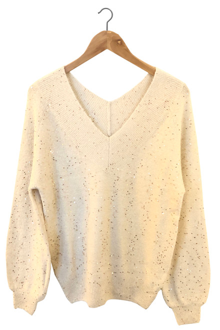Cream Glitter Jumper