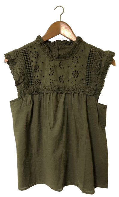 khaki Embroidered Top