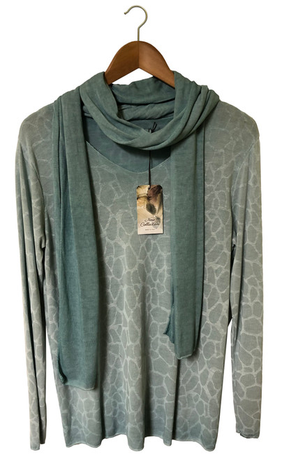 Pale Green Top With Scarf