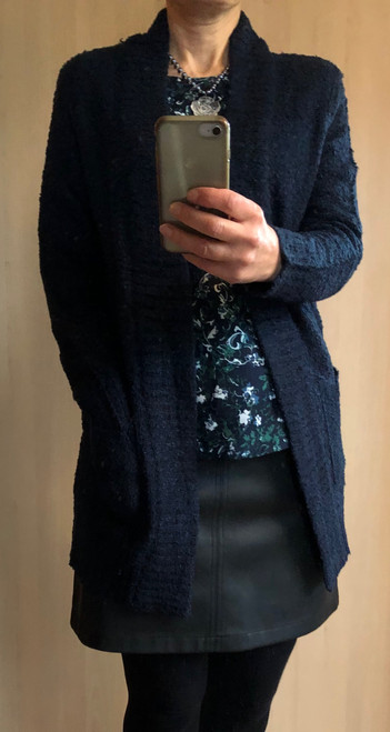 Navy Boucle Edge To Edge Cardigan