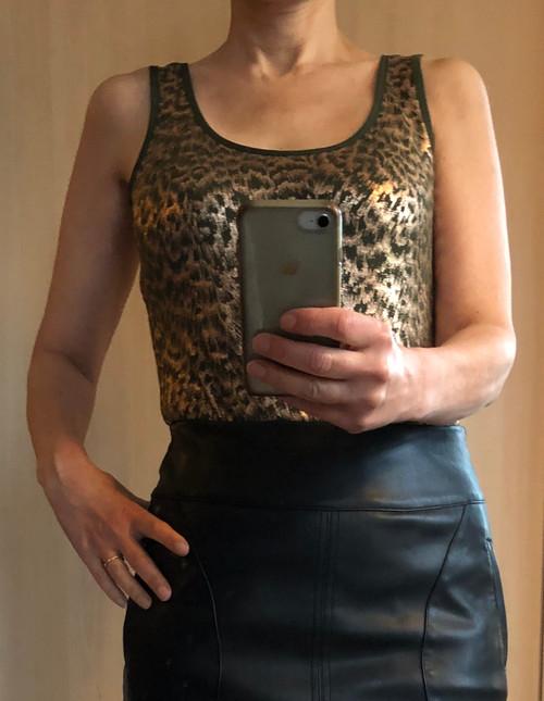Khaki & Gold Animal Print Foil Vest