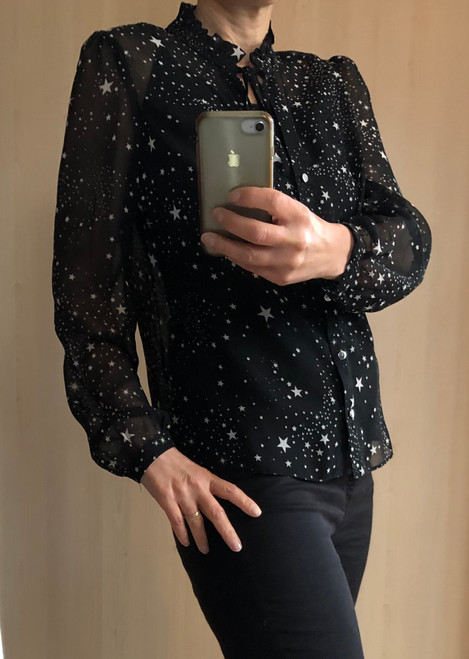 Star Print Black Blouse