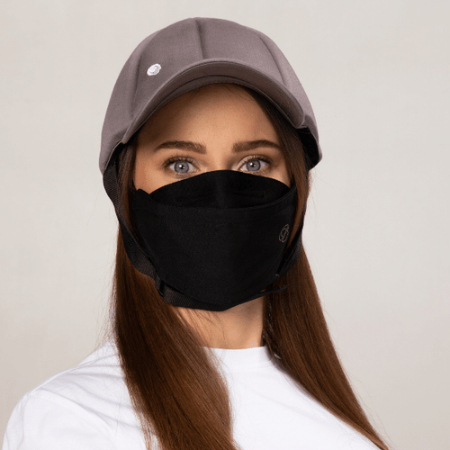 Premium Black Fashionable - Wiederverwendbar - 2-Lagen-Gesichtsmaske - Ribcap