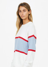 NF KNITTED STRIPE SWEATER  - WHITE [USW921006]