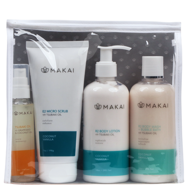 Coconut Vanilla Set 10oz Body Wash, Lotion,  7oz Scrub & 2oz Tsubaki Oil