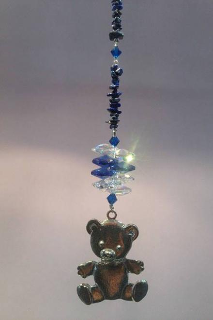 Teddy Bear with Lapis Lazuli Suncatcher