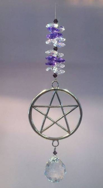 Pentagram with 30mm crystal ball suncatcher with Purple Crystals