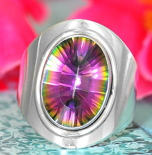 Mystic Topaz Ring Sterling Silver