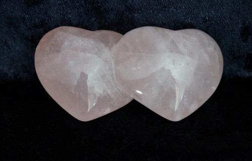 Twin Rose Quartz Hearts