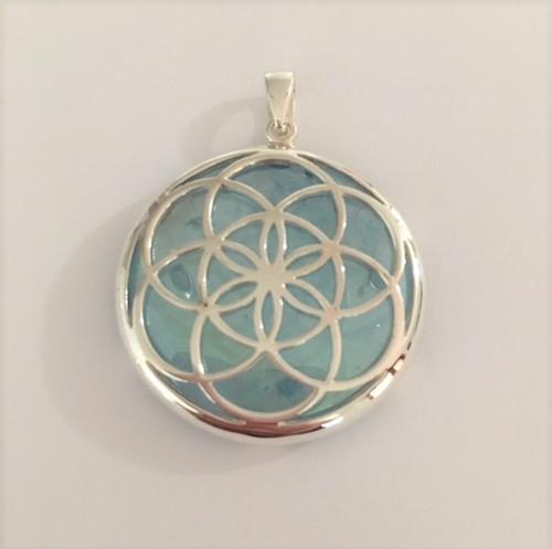 Seed of Life Pendant with Aqua Aura