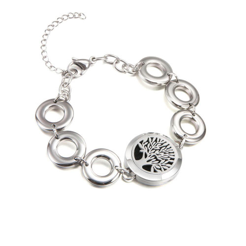 Aromatherapy Diffuser Bracelet -Tree of Life - Silver