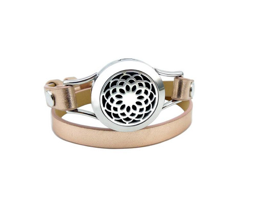 Aromatherapy Rose Gold Leather Diffuser Bracelet - Lotus Flower