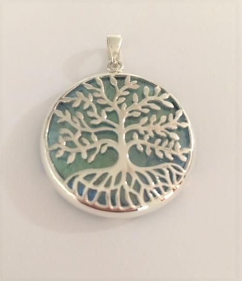 Tree of Life with Aqua Aura Pendant