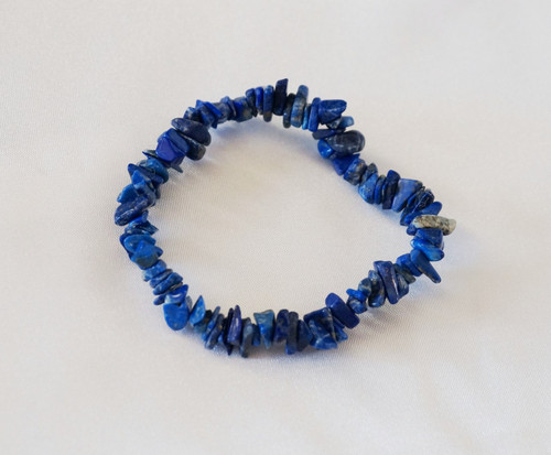 Lapis Lazuli Chip Bracelet is great for headaches, migraines, depression & returns feelings of deep serenity to wearer.