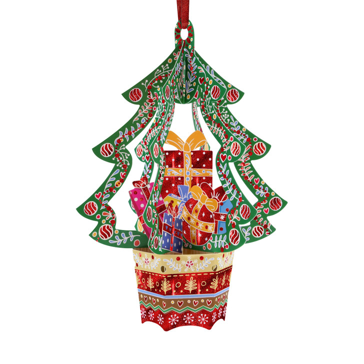 3D Pop-Up Christmas Card –  Presents Tree Baubles Card and Decorative Hanging Ornament – Luxury Holiday Card for Family, Kids, Someone Special