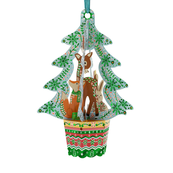 3D Pop-Up Christmas Card –  Woodland Animals Tree Baubles Card and Decorative Hanging Ornament – Luxury Holiday Card for Family, Kids, Someone Special