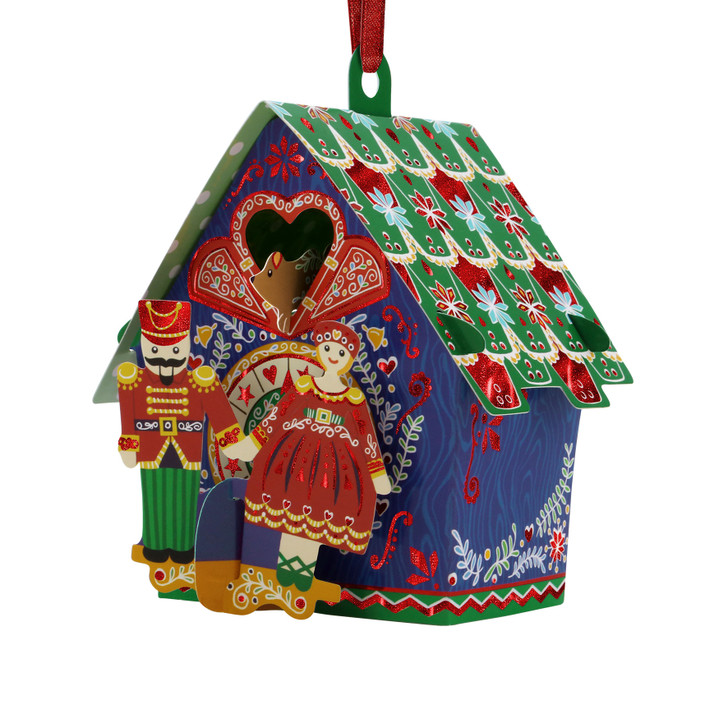 3D Pop-Up Christmas Card –  Cuckoo Clock Baubles Card and Decorative Hanging Ornament – Luxury Holiday Card for Family, Kids, Someone Special