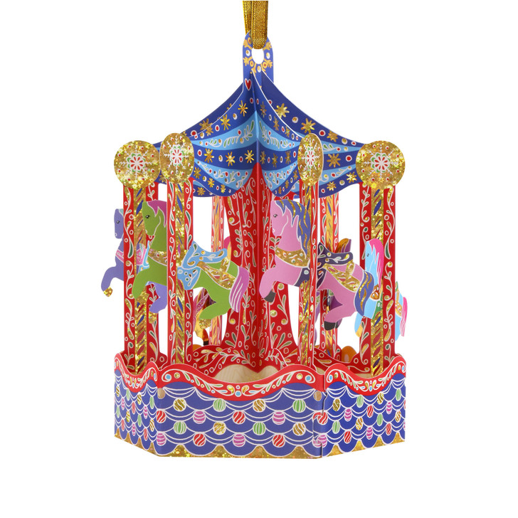 3D Pop-Up Christmas Card –  Carousel Baubles Card and Decorative Hanging Ornament – Luxury Holiday Card for Family, Kids, Someone Special