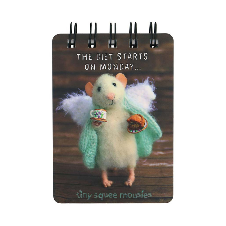 Tiny Squee Mousies - Mini Wiro-Bound Notebook - The Diet Starts on Monday