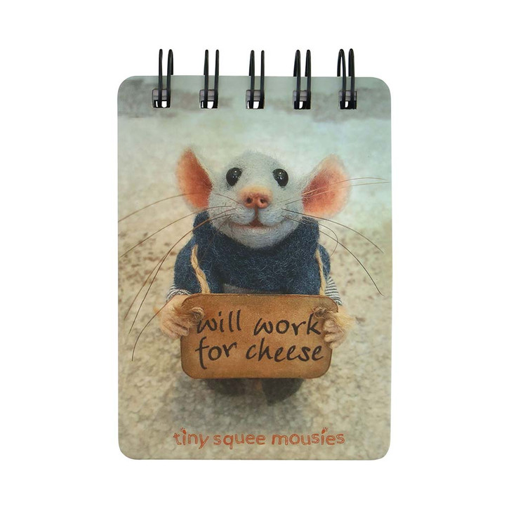 Tiny Squee Mousies - Mini Wiro-Bound Notebook - Will Work For Cheese