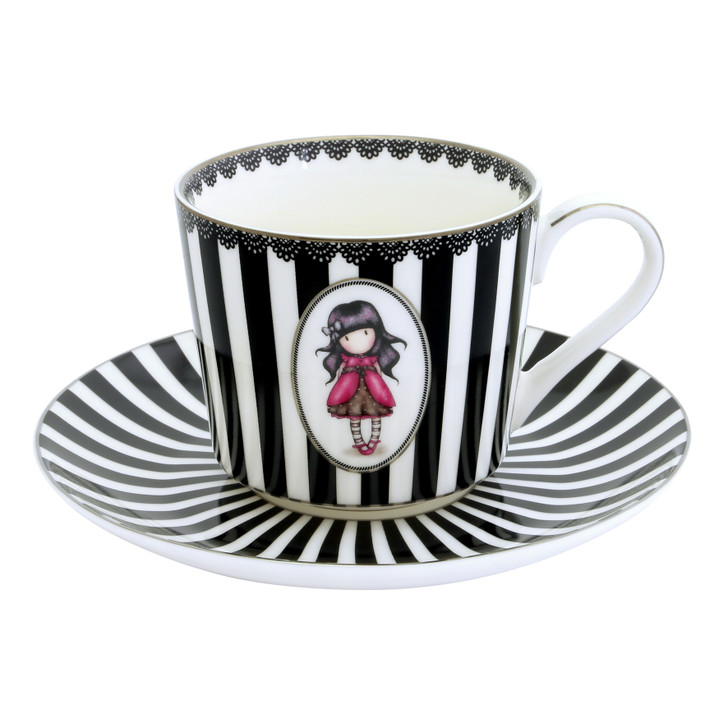 Gorjuss - Tea Cup And Saucer (Set Of 2) - Ladybird, Ruby