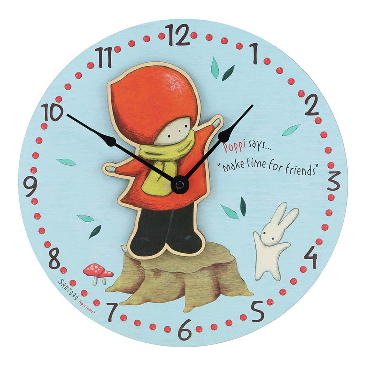 Poppi Loves - Wooden Wall Clock - Catching Leaves