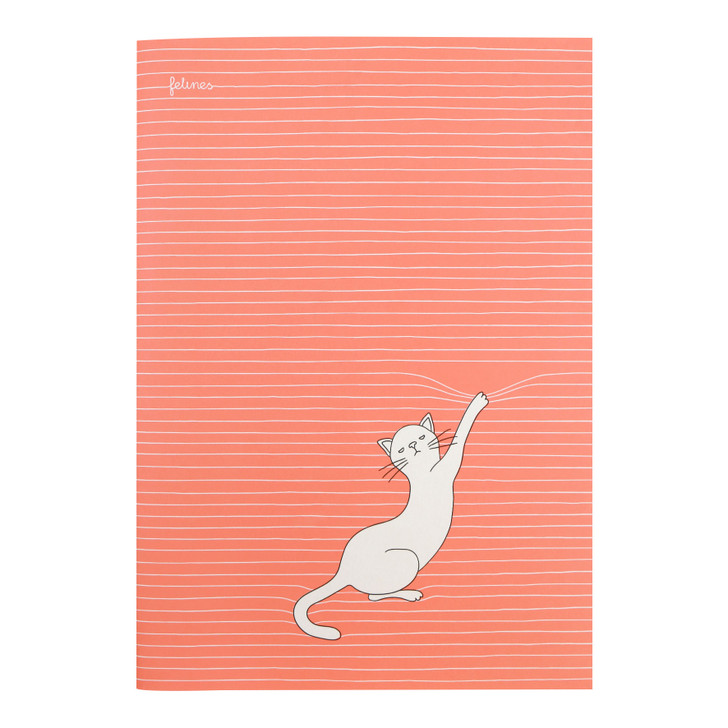 felines - Large Stitched Notebook - Asking Fur Trouble