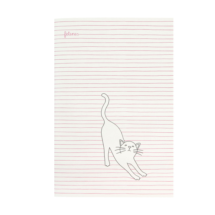 felines - Medium Stitched Notebook - Stay Pawsitive