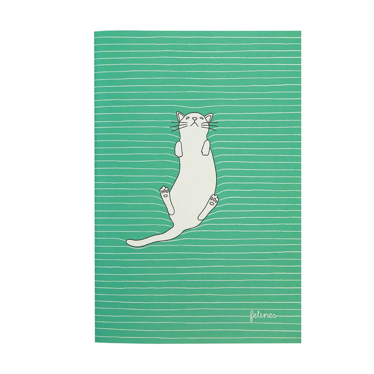 felines - Medium Stitched Notebook - Feline Fine