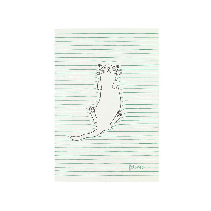felines - Small Stitched Notebook - Feline Fine