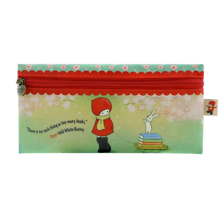 Poppi Loves - Flat Zip Pencil Case - Librarian