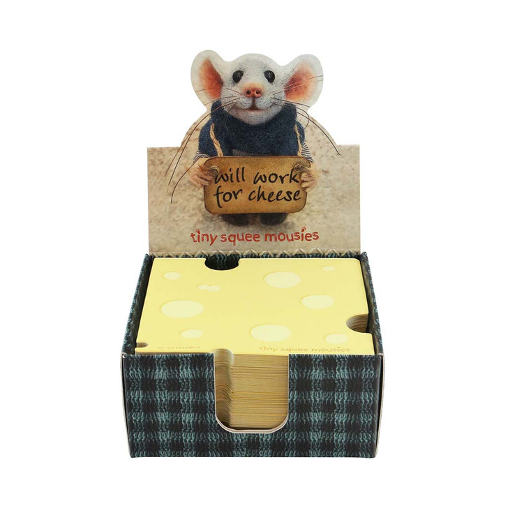 Tiny Squee Mousies - Cheese Memo Block - Will Work For Cheese