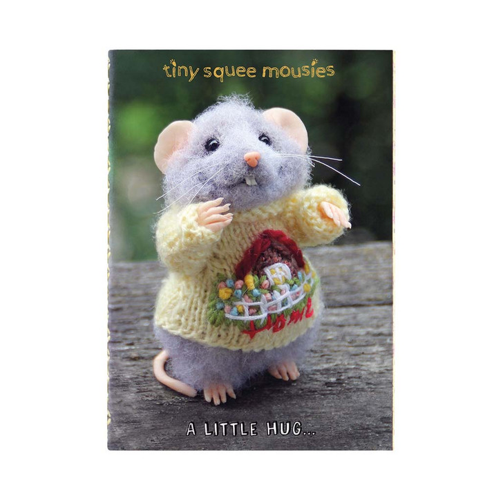 Tiny Squee Mousies - Set Of 2 Small Stitched Notebooks - Will Work For Cheese, Little Hug