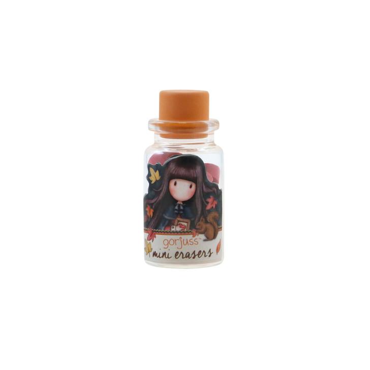 Gorjuss - Mini Erasers In Glass Bottle - Autumn Leaves