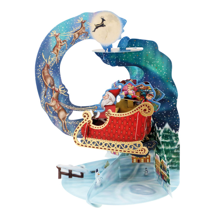 3D Pop-Up Christmas Card –  Santa's Sleigh Pendulum Card – Luxury Holiday Card for Family, Kids, Someone Special