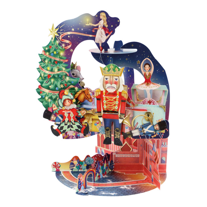 3D Pop-Up Christmas Card – The Nutcracker Pendulum Card – Luxury Holiday Card for Family, Kids, Someone Special