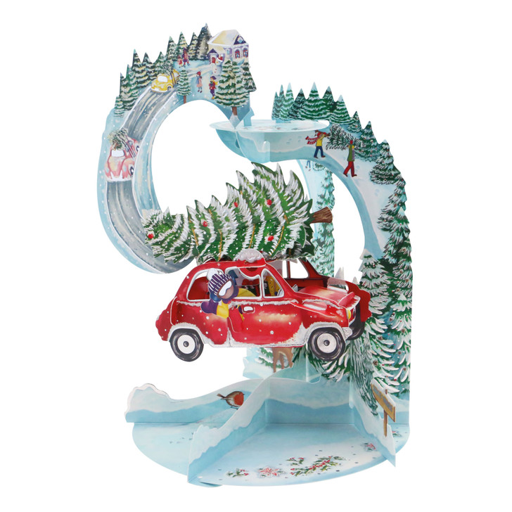 3D Pop-Up Christmas Card – Driving Home For Christmas Pendulum Card – Luxury Holiday Card for Family, Kids, Someone Special