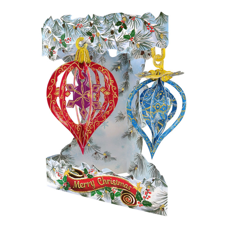 3D Pop-Up Christmas Card – Baubles Swing Card – Luxury Holiday Card for Family, Kids