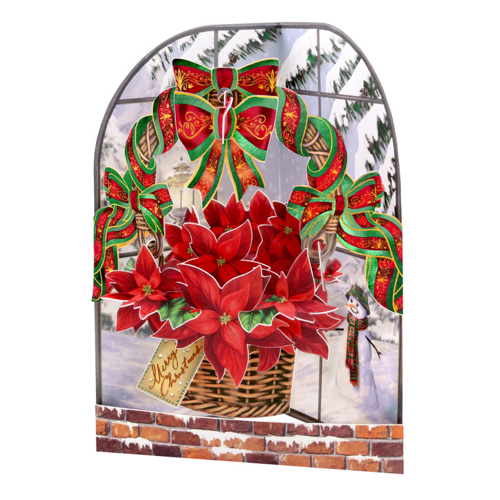 3D Pop-Up Christmas Card – Poinsettia Swing Card – Luxury Holiday Card for Family, Kids, Someone Special