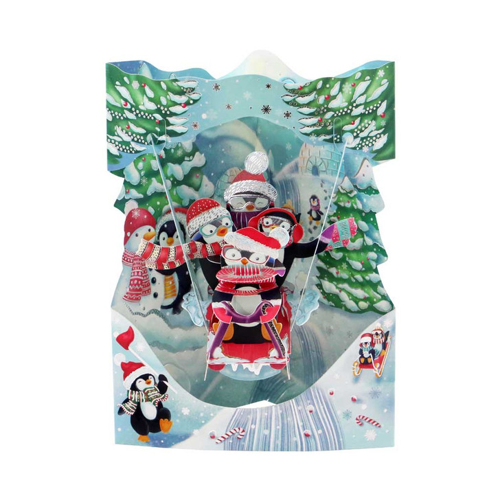 3D Pop-Up Christmas Card – Sledging Penguins Swing Card – Luxury Holiday Card for Family, Kids