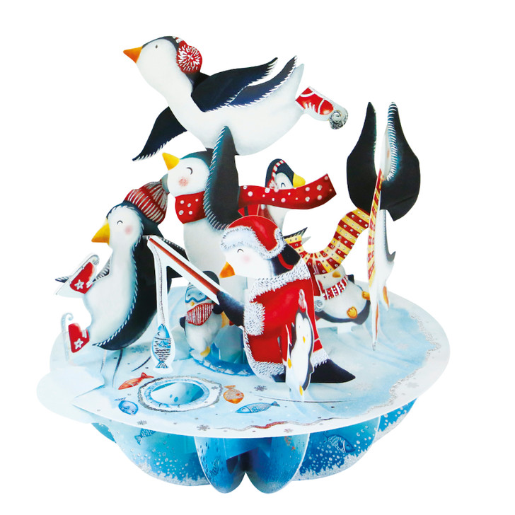 3D Pop-Up Christmas Card – Ice-Skating Penguins Pirouettes Card – Luxury Holiday Card for Family, Kids
