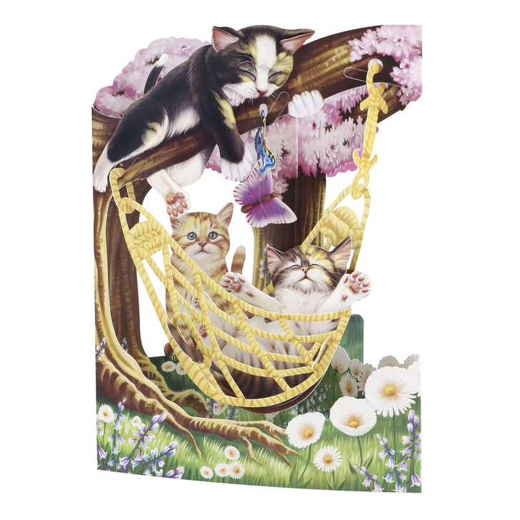 3D Pop-Up Card – Cats In A Hammock Swing Card – Luxury Birthday Card for Cat Lovers, Her, Mum, Someone Special