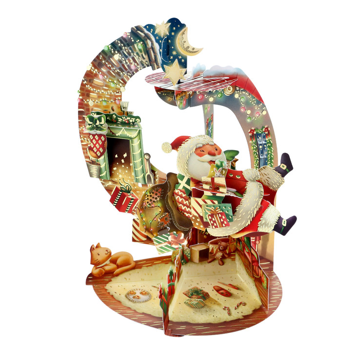 3D Pop-Up Christmas Card – Hurry Down The Chimney Pendulum Card – Luxury Holiday Card for Family, Kids