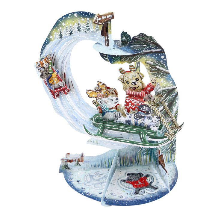 3D Pop-Up Christmas Card – Sledging Puppies Pendulum Card – Luxury Holiday Card for Dog Lovers, Family, Kids