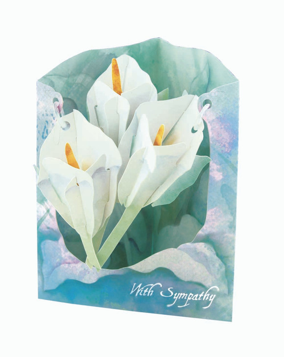 Swing Cards - Watercolour Lilies-with Sympathy