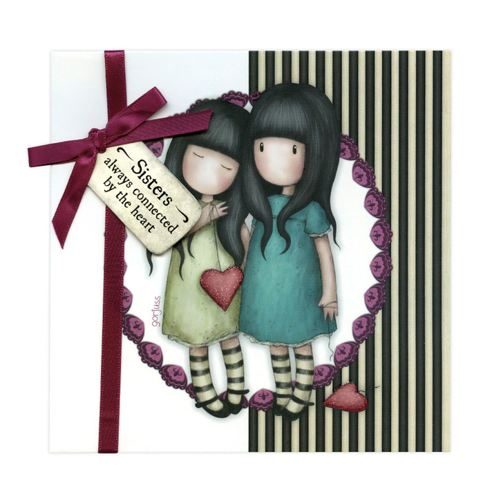 Gorjuss Greetings Card - Sisters - Always Connected By The Heart
